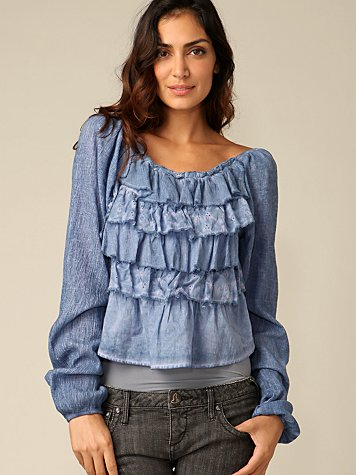Eden Ruffle Peasant Top :  blue ruffle fashion peasant