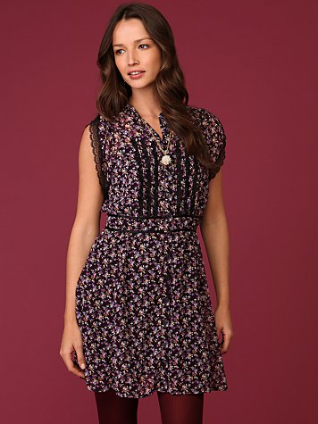 Purple Ditsy Floral Dress