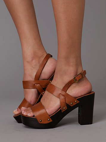 Namiyo Wood Platform at Free People Clothing Boutique :  dark brown wooden platform open toe adjustable strap