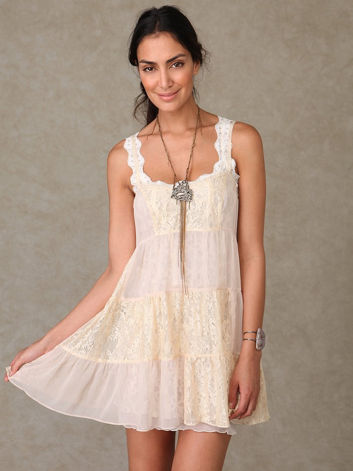 Chiffon and Lace Tiered Slip at Free People Clothing Boutique :  memorial day labor day free people white