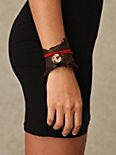 Leather & Coin Wrap Cuff