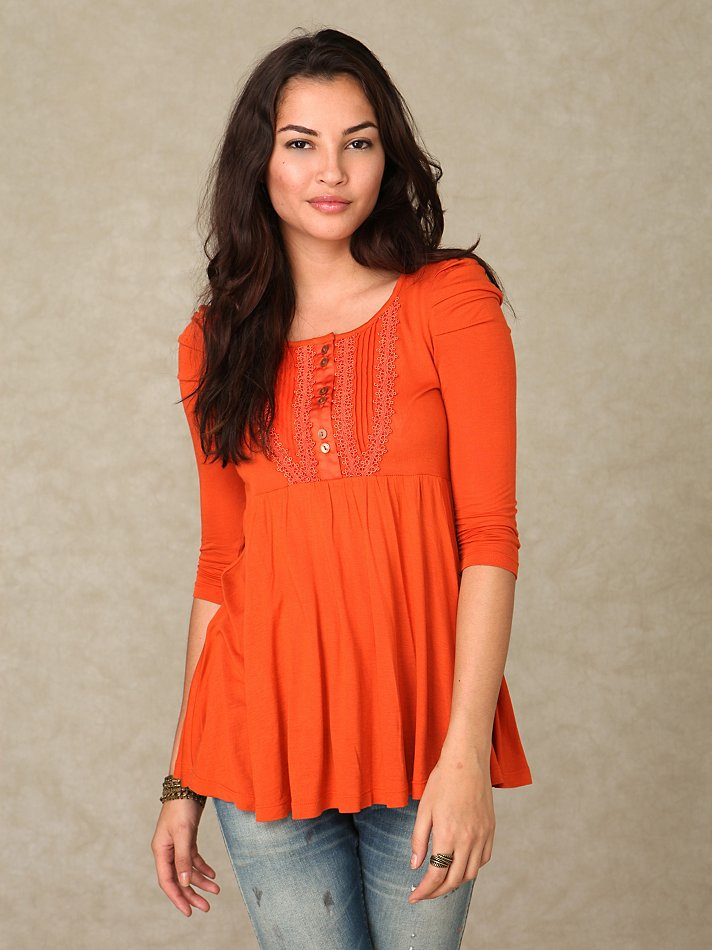 Free People - 3/4 Sleeve Henley Babydoll Tunic