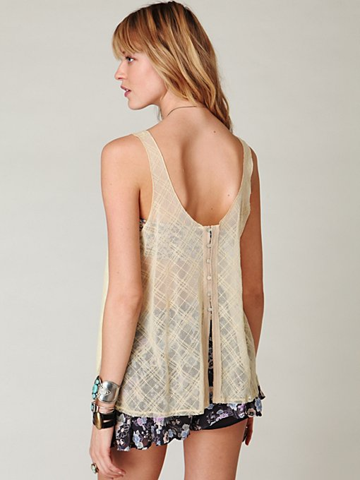 Mesh Back Button Tank