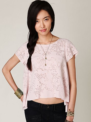Short Sleeve High Low Cutout Top