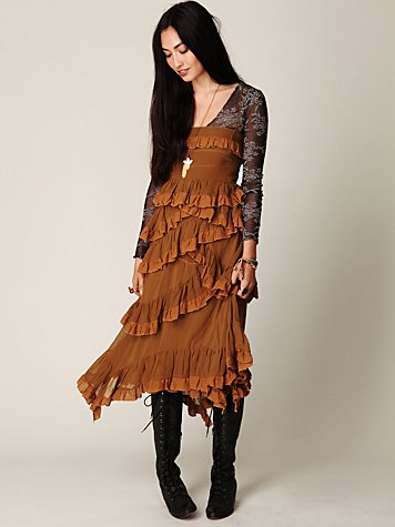 Babel Solid Silk Ruffle Dress