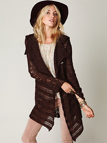 Hooded Textured Cardigan