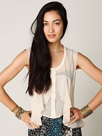 Free People FP New Romantics High Low Sheer Ruffle Buttondown Top
