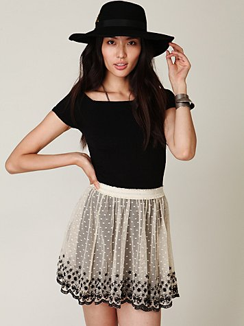 Embroidered Mesh Circle Skirt