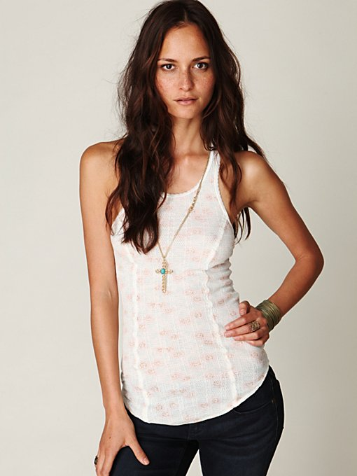 Printed Lacy Knit Tank