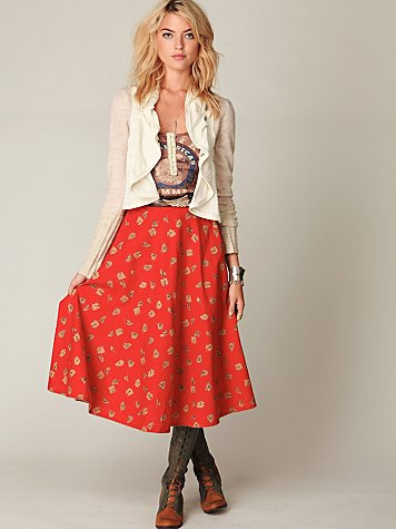 Loving Fall Tea Length Skirt