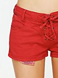 Red Lace Up Denim Shorts