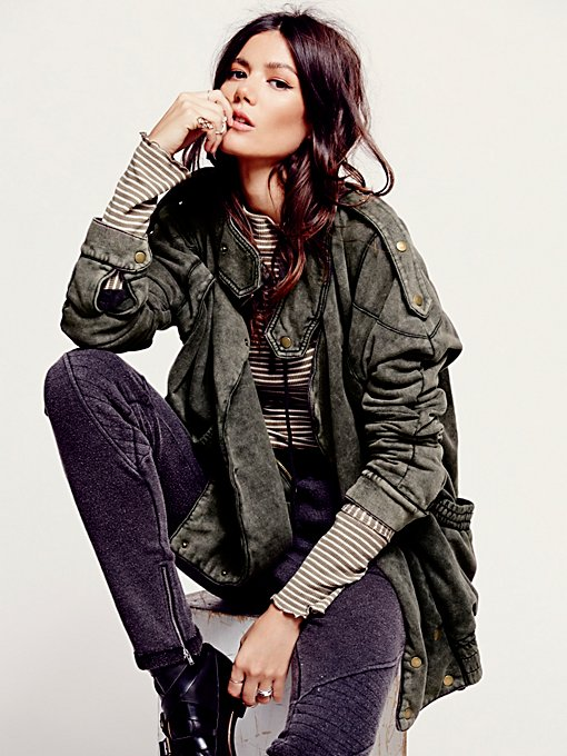 Free People We The Free Oversized Fleece Moto Jacket in Coats