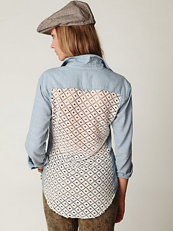 Chambray Buttondown Crochet Back Shirt