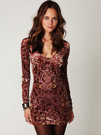 Velvet Burnout Bodycon Slip