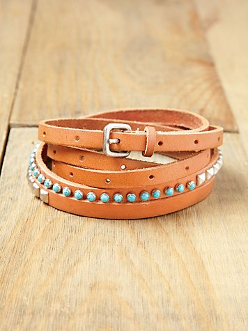 Stone Studded Double Wrap Belt