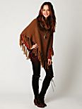 Cable Fringe T Neck Poncho