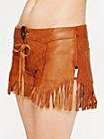 Leather Fringed Shorts
