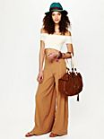 High Waist Linen Pleated