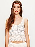 Daisy Embroidered Mesh Crop Top