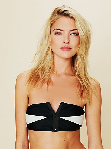 Colorblock Zipper Bandeau