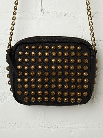 Hammered Stud Zip Crossbody