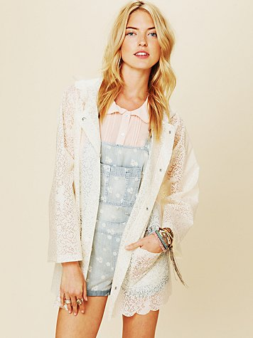 Free People Printed Lace Raincoat