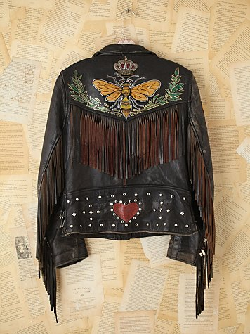 Vintage Melanie Bendavid Hand-Painted Leather Jacket