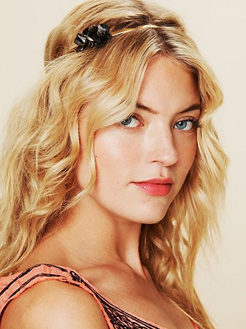 Free People Leather Rose Metal Chain Headband