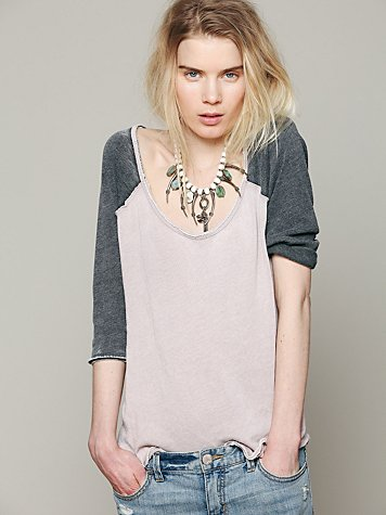 We The Free Long Sleeve Cotton Candy Burnout Top