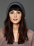 Open Knit Striped Beanie