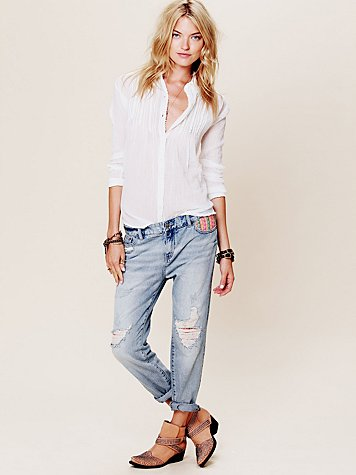 Free People Tapestry Embellished Slim and Slouchy Fit Jeans