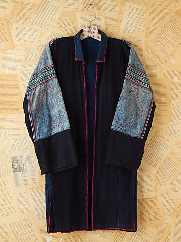 Vintage Blue Embellished Long Jacket