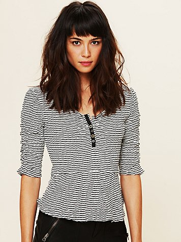 Free People Stripey Candy Peplum Top