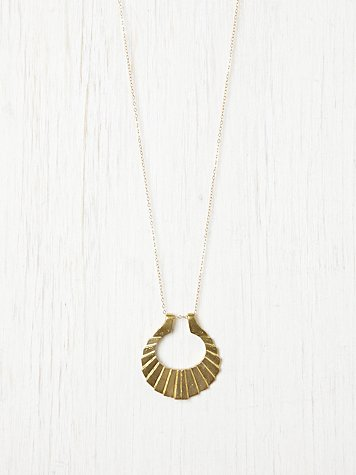 Nikki Montoya Crinkle Crescent Necklace