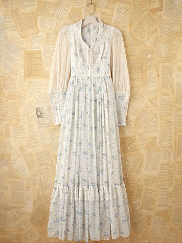 Free People Vintage Gunne Sax Blue Floral Printed Maxi Dress