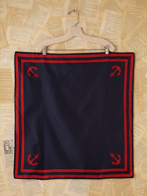 Free People Vintage Red and Blue Sailor Silk Scarf in Vintage-Accessories