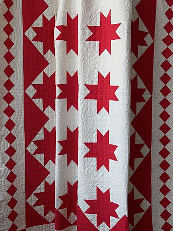Vintage Handmade Red and White Patterned Quilt