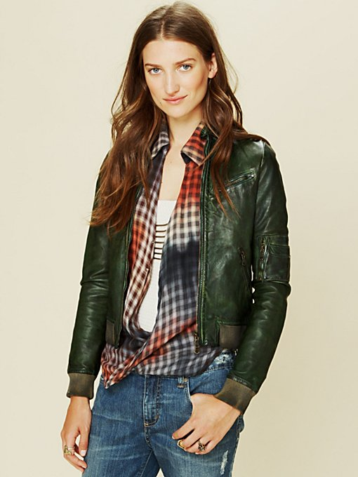 Blur Leather Bomber Jacket in Jackets