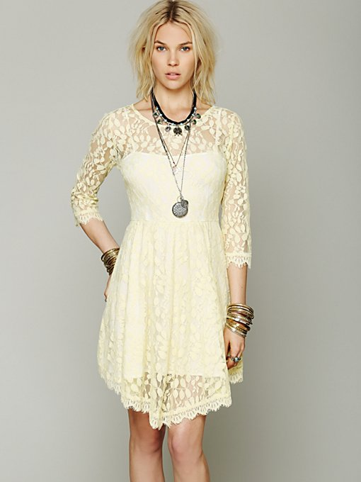 Free People Floral Mesh Lace Dress in Day-Dresses