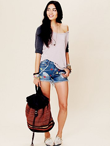 Lacau Daisy Embroidered Denim Cutoffs