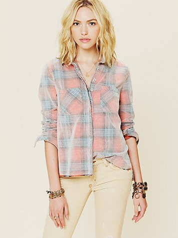 Free People Variegated Cord Buttondown