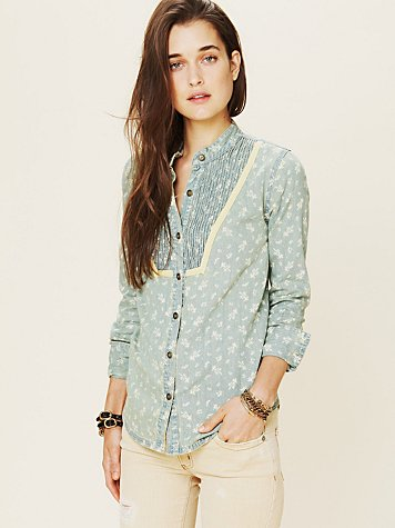 Free People Printed Chambray Buttondown