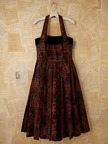 Free People Vintage Batik and Velvet Halter Dress