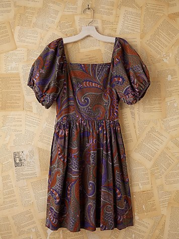 Free People Vintage Batik Printed Bubble Sleeve Dress