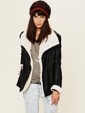 Free People Vegan Leather Jacket with Fur Collar