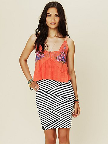 Free People Striped Bodycon Skirt