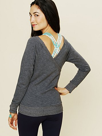 Solow Sport Off the Shoulder V-Back Pullover