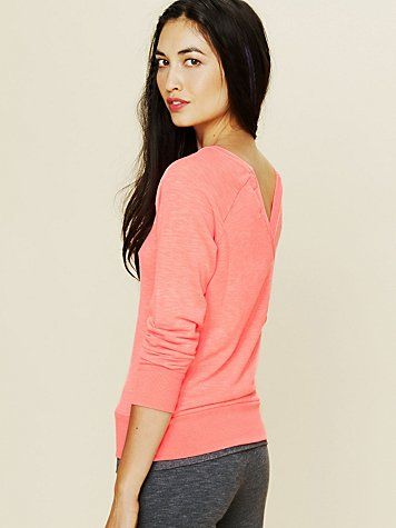 Off the Shoulder V-Back Pullover