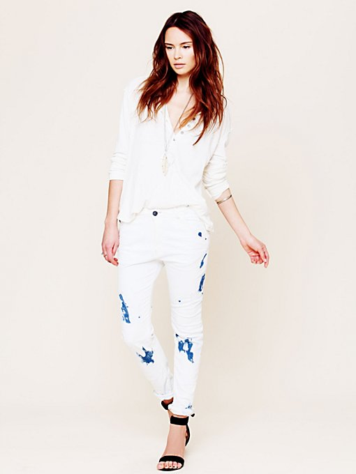 Maison Scotch Tie Dye Tapered Crop in skinny-jeans