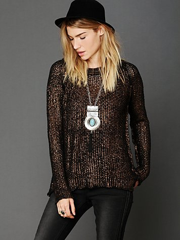 Free People Marl Yarn Metallic Foil Sweater